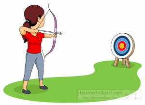 Aiming Target With Bow And Arrow Archery